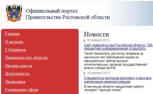 Сайт правительства Ростовской области: 100-процентная информационная открытость